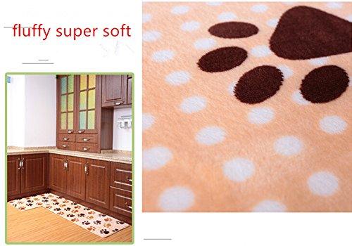 Ustide 2 Piece Dog Foot Print Kitchen Rug Set Cute Memory