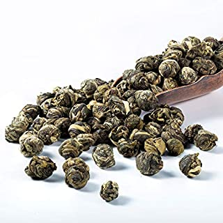 Jasmine Green Tea with Premium Flavor Loose Leaf Tea Dragon Pearls, Hand Picked and Rolled Jasmine Blossoms with Food Grade Resealable Bag, 4oz