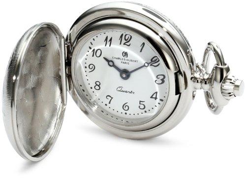 Charles-Hubert, Paris 6820 Classic Collection Chrome Finish Brass Quartz Pendant Pocket Watch