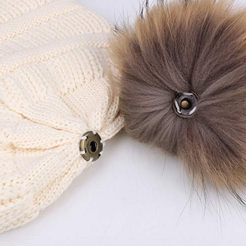 e177dc0ab Winter Real Fur Pom Beanie Hat Warm Oversized Chunky Cable Knit Slouch  Beanie Hats for Women