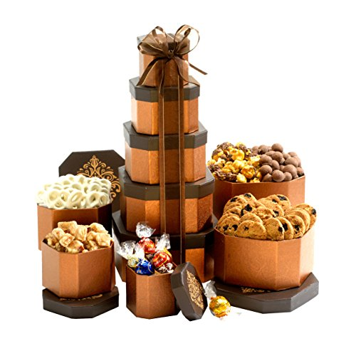 Broadway Basketeers Gift Tower of Sweets. Perfect for Sympathy, Birthday, Housewarming, Retirement or Any Occasion ()