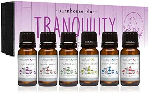 Premium Grade Fragrance Oil – Tranquility – Gift Set – 6/10ml Bottles – Lavender, Sandalwood, Frankincense, Eucalyptus, Patchouli, Peppermint