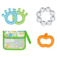 Green Sprouts Cooling Teether and Pouch Set, Orange/Blue/Green