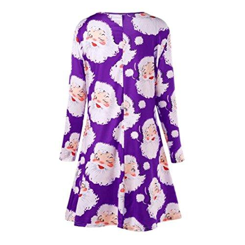 Kanpola Robe Des Femmes De Noël, Cadeaux Fête Imprimé Dames De Longuette À Manches Longues De Soirée Robes Longues De Noël Violet 1