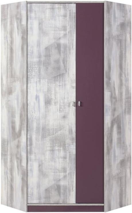 L x H x P Dimensions: 90 x 195 x 90 cm Chambre dadolescent Lilas // Blanc-Gris Armoire dangle Marin 02