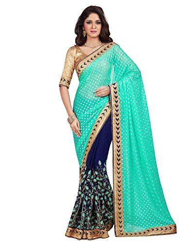 (Shonaya Women`S Party Wear Georgette Printed Saree Sari (Turquoise))