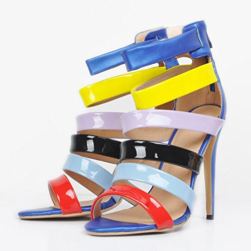 Des 11cm En Handmade Talon Femmes Haut Sandales Cuir Été Chaussures Blue Patchwork De Partie Kolnoo YqEw7q