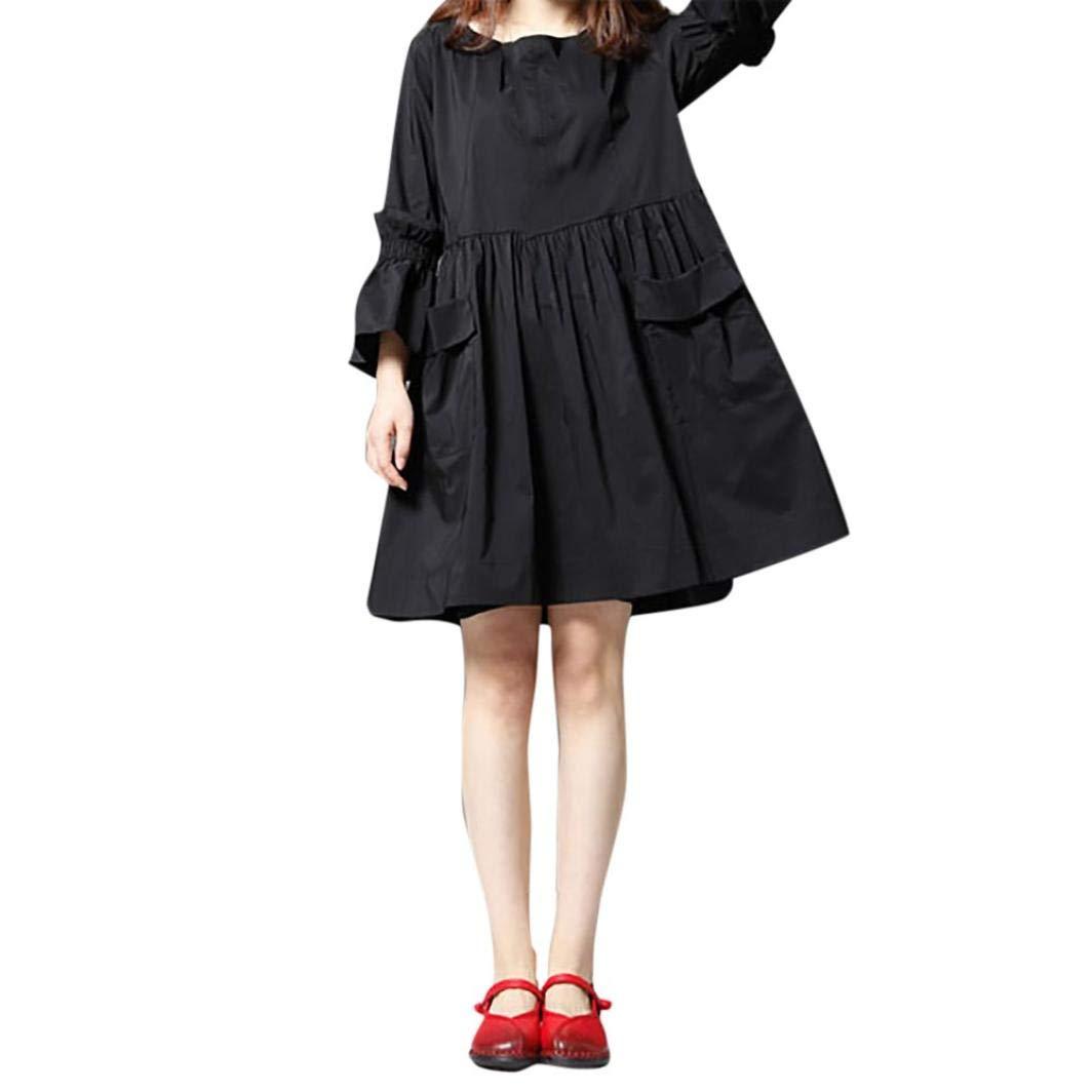 Chrikathy Women Flare Long Sleeve O-Neck Loose Cotton Linen Casual Shirt Dress by Chrikathy Women Dressess