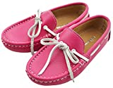 IDIFU Boy's Girl's Unisex Breathable Leather Bow Slip On Loafers Flat Oxfords Shoes Rose Red 6 M US Toddler