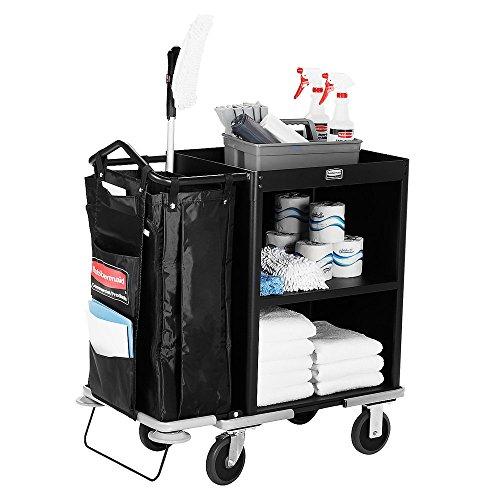 Rubbermaid 9T60 Metal Compact Housekeeping Cart (FG9T6000BLA)