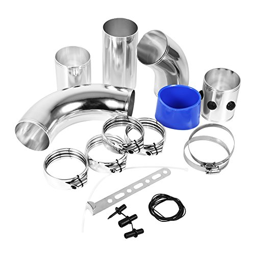 Air Intake Tube, Universal Car Air Fltre Adaptor Tubes High Flow Intake Kit Aluminium Alloy Set:
