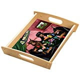 Home of Dobermans 4 Dogs Playing Poker Wood Serving Tray