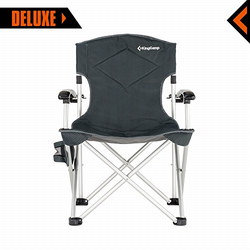 KingCamp Camping Chair Foldable Oversize Portable Padded Comfortable Smooth Armrest With Cup Holder and Storage Pocket with Carry Bag Supports 270 lbs