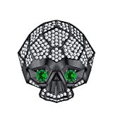 RUDRAFASHION Men's Women's 14K Black Gold Plated 3.80 ctw White CZ & Green Emerald Half Jaw Skull Ring