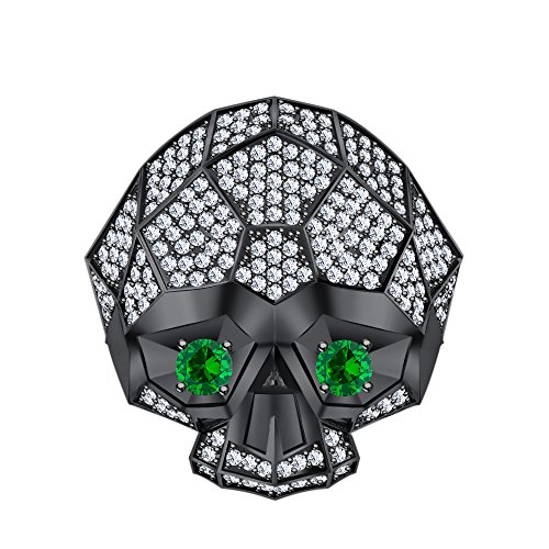 RUDRAFASHION Men's Women's 14K Black Gold Plated 3.80 ctw White CZ & Green Emerald Half Jaw Skull Ring by RUDRAFASHION