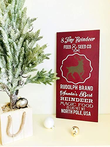Olga212Patrick Eight Tiny Reindeer Reindeer Christmas Sign Plaque Rustic Christmas Sign Plaque Night Before Christmas Feed and Seed Company Sign Plaque Christmas Farm Art