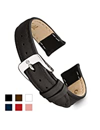 Speidel Genuine Leather Watch Band 14mm Black Calf Skin Replacement Strap, Stainless Steel Metal Buckle Clasp, Watchband Fits Most Watch Brands