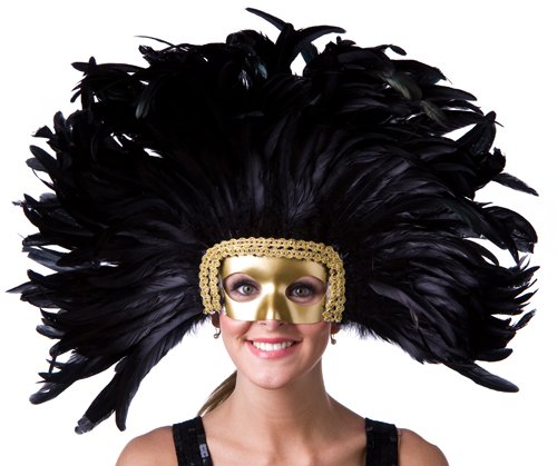 Large Carnival Costume Feather Headdress - Black Halloween Mask Cosplay Party Hair Accessory