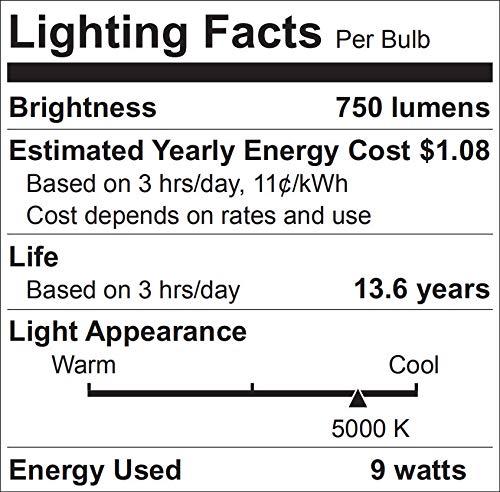 60W Equivalent, A19 LED Light Bulb, 5000K Daylight, E26 Medium Base, Non-Dimmable LED Light Bulb,750lm,UL Listed 4 Pack