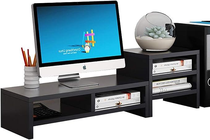 Soportes para monitores Cuello de madera de 2 capas La pantalla de visualización del ordenador incrementó el soporte de la base del estante teclado de escritorio caja de almacenamiento de almacenamien: Amazon.es: