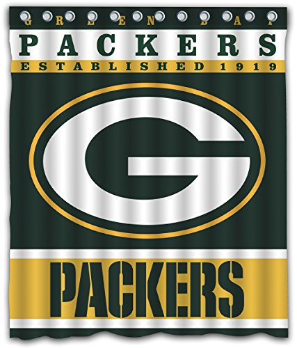 Sonaby Custom Green Bay Packers Waterproof Fabric Shower Curtain For Bathroom Decoration (60x72 Inches)