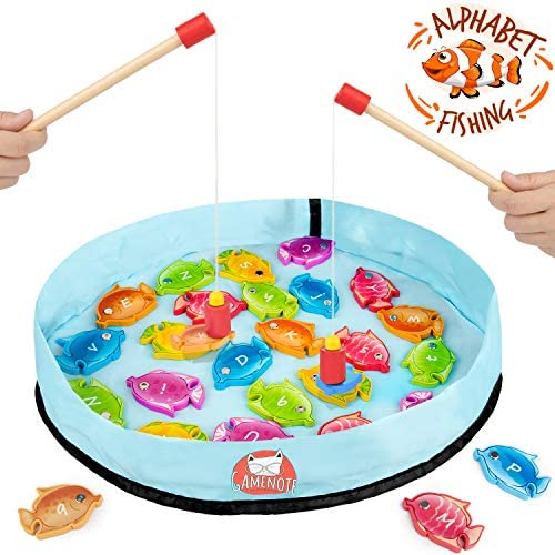 [해외]Gamenote Wooden Magnetic Alphabet Fishing Game for Toddlers - 26 Double Sided Fish2 Magnet Poles & Storage Bag for Letter Recognition and Learning (Activity Guide Include) / Gamenote Wooden Magnetic Alphabet Fishing Game for Toddle...