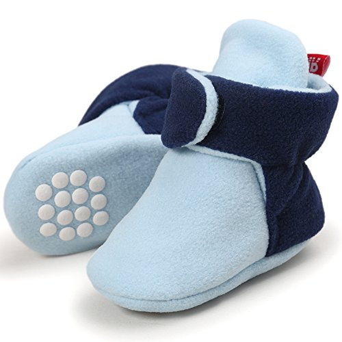 CIOR Baby Cozy Fleece Booties with Non Skid Bottom,DNDXBX,Light Blue/Navy ,12