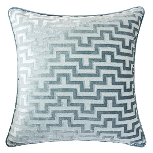 Homey Cozy Modern Velvet Maze Throw Pillow Cover,Ocean Blue Luxury Soft Fuzzy Cozy Warm Slik Dec ...