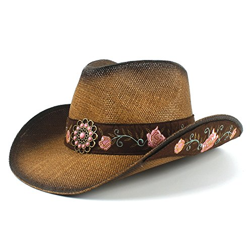 OLLVU Fashion Western Cowboy Style Summer Cowboy Hat Lady Wide Side Sun Protection Sun Hat Fisherman Hat Elegant (Color : Natural, Size : - Victorian Cowboy Hat Western Style