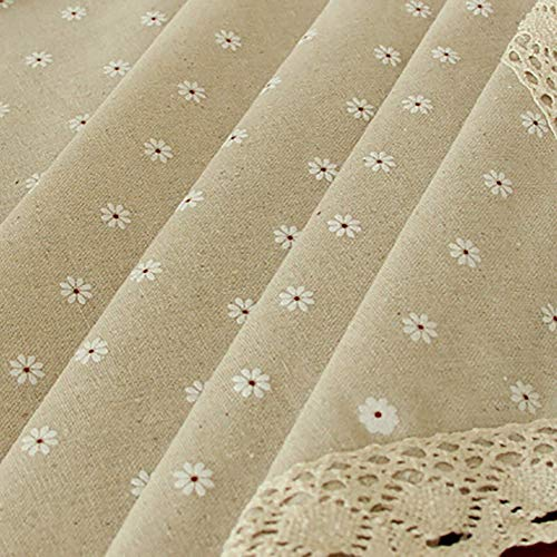 Manteles de lino y algodon rectangulares para mesa, estilo simple, multiusos, para interiores y exteriores, White Chrysanthemum, 55 Wide*80 Length (140*203 CM)