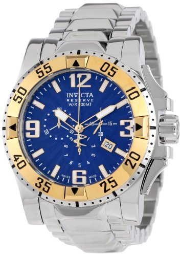 Invicta Men's 10894 Excursion Reserve Chronograph Blue Textured Dial Stainless Steel Watch (Dial Textured Blue Watch)