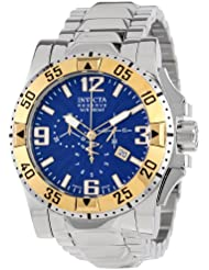 Invicta Mens 10894 Excursion Reserve Chronograph Blue Textured Dial Stainless Steel Watch