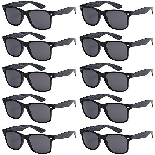WHOLESALE UNISEX 80'S RETRO STYLE BULK LOT PROMOTIONAL SUNGLASSES - 10 PACK (Matte Black / Carbon Fiber Print / Smoke, - Fifty Fifty Sunglasses