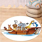 VROSELV Custom carpetNoahs Ark Decor Illustration of Many Animals Sailing in the Boat Mythical Journey Faith Giraffe Story Art Bedroom Living Room Dorm Decor Multi Round 79 inches
