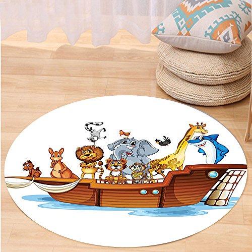 VROSELV Custom carpetNoahs Ark Decor Illustration of Many Animals Sailing in the Boat Mythical Journey Faith Giraffe Story Art Bedroom Living Room Dorm Decor Multi Round 79 inches by VROSELV