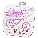 3dRose RinaPiro - Kids - Twins. Girls. Announcement. Cute picture. - 8x8 Potholder (phl_261341_1)