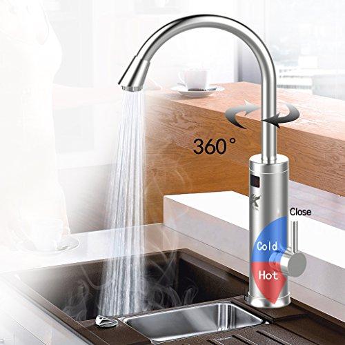 Aladdin SDR-18DC-3H Rostfreier Stahl 220V Sofortig Tankless Elektrisch Heizgerät Küchenarmaturen,360°Schwenken Heiß&kalt elektrische Warmwasserbereiter mit LED Digital Anzeige für Küche,Badezimmer,Waschraum