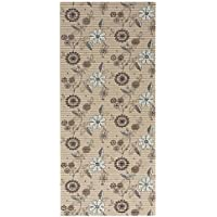 26 x 96 All Designs Cushioned Non-Slip/Rubber Backing Floral Brown Color Aqua Runner/Doormat (Easy Cut to fit in Your Hallway, Bathroom, or Kitchen) AQ459-01-2x8