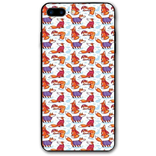 Compatible with iPhone 7 Plus Case & iPhone 8 Plus Case, Snow Foxes with Winter Sweaters and Scarf Cartoon Vulpe Friends in Cozy Environment,Soft Rubber Phone Case Cover