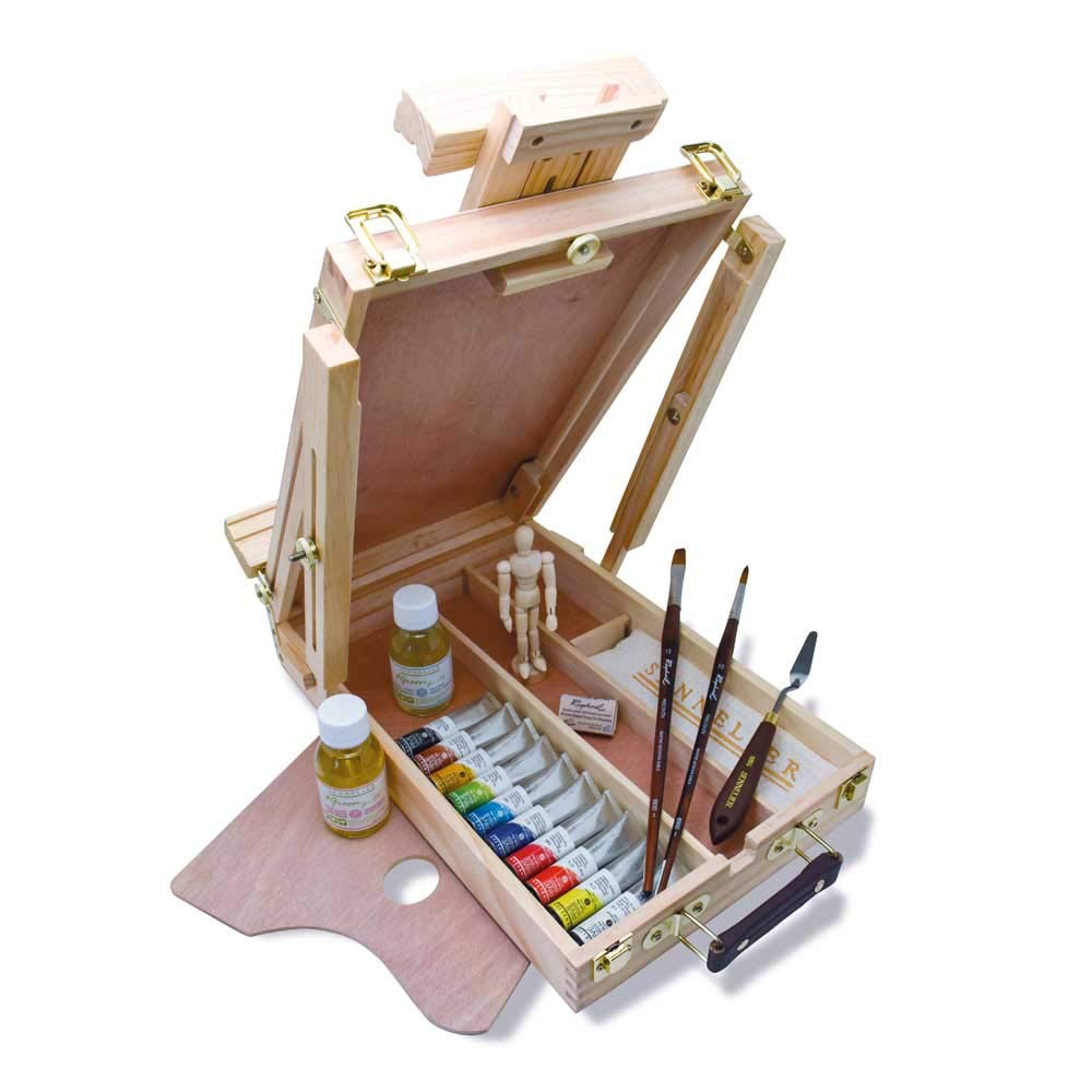 Rive Gauche Wood Easel Box Set by Sennelier, Includes 10-21m l Tubes of Oil Color, 4.75 Inch Mannequin, Palette Knife, 10 0ml Thinner, 100ml Liquid Medium (10-130329-00)