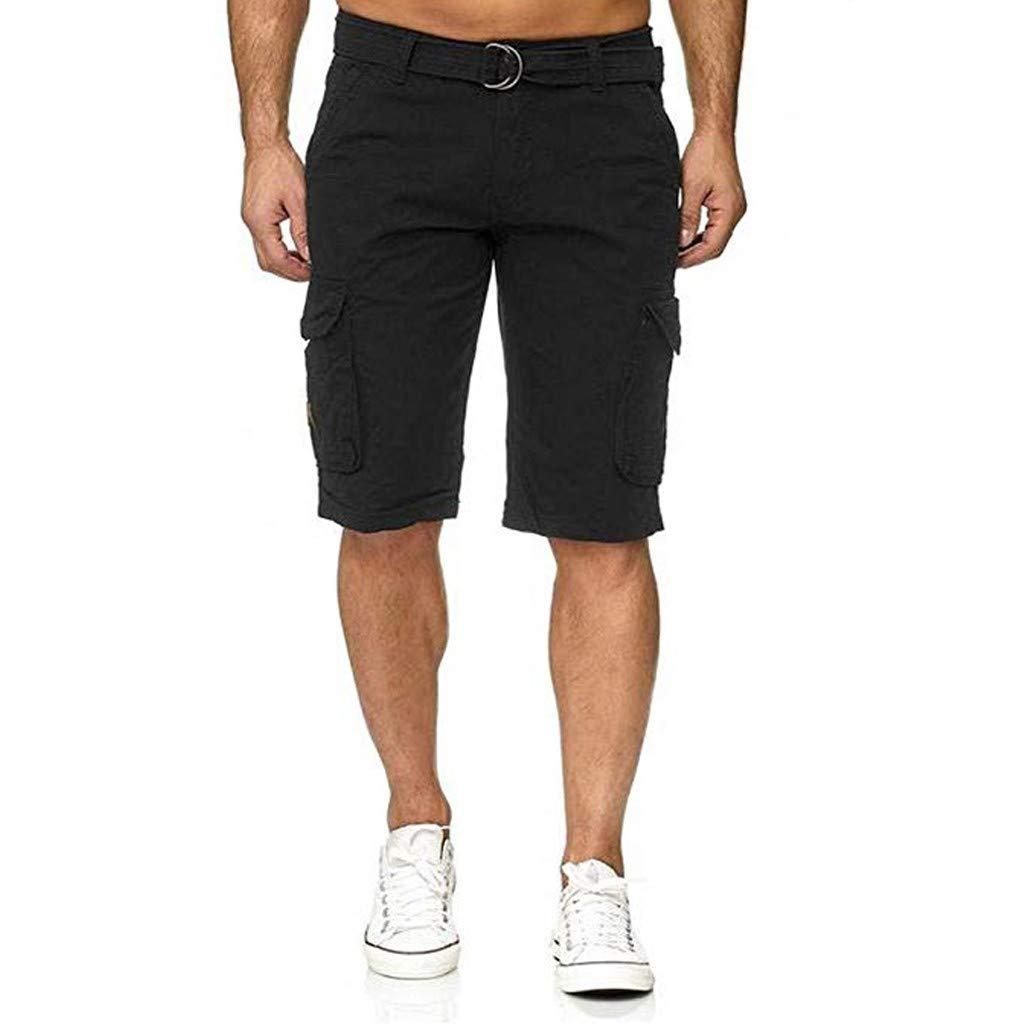 Alalaso Men Cargo Shorts, Men's Twill Cargo Shorts Multi Pockets Work Outdoor Wear with Belt Black