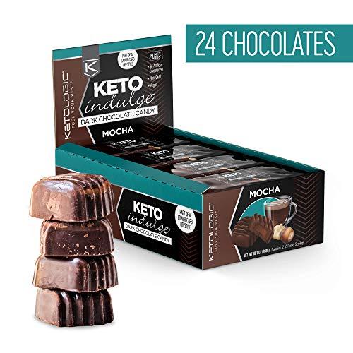 KetoLogic Keto Indulge Sugar Free Chocolate: Keto Chocolate Candy - Low Carb, Dark Chocolate with No Artificial Sweeteners & No Added Sugar   All Natural, Non GMO, Keto Sweets   Mocha (12 Serve)