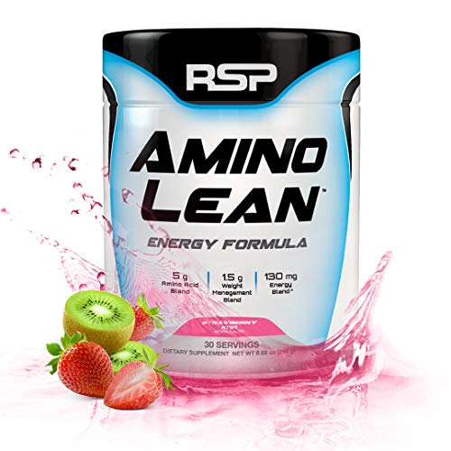 RSP AminoLean - All-in-One Pre Workout, Amino Energy, Weight Management Supplement with Amino Acids, Complete Preworkout Energy & Natural Weight Management for Men & Women, Strawberry Kiwi, 30 Serv