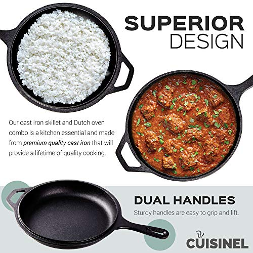 Pre-Seasoned Cast Iron 2-In-1 Multi Cooker | 3-Quart Dutch Oven and Skillet Lid Set Oven Safe Cookware | Use As Dutch Oven and Frying Pan | Indoor and Outdoor Use | Grill, Stovetop, Induction Safe by cuisinel (Image #3)