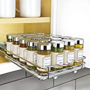 """Lynk Professional Adjustable Expandable 4 Tier Steel Spice Rack Tray Drawer Organizer, 14"""" to 26"""", S"""