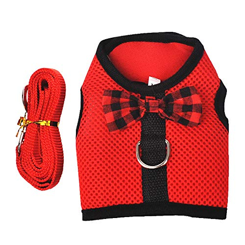 (RC GearPro Rabbits Harness with Elastic Leash Suitable for Small Pets Cat Guinea Pig Chest Strap Set (M : Bust (30-34c, Red) )