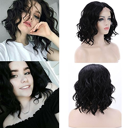 Bob Curly Lace Front Wig Short for Black Women U Part Glueless Lace 14