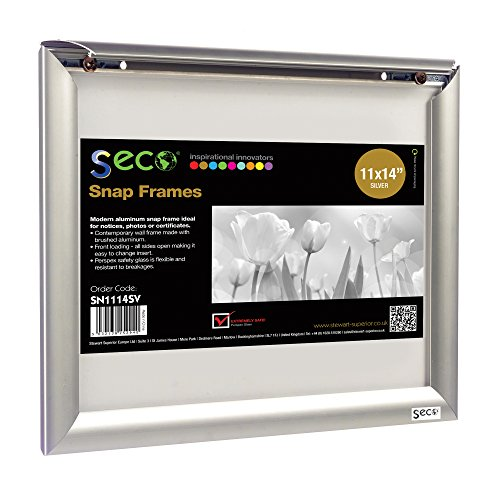 SECO Front Load Easy Open Snap Frame Poster/Picture Frame 11 x 14 Inches, Silver Metal Frame - Glare Frame Anti