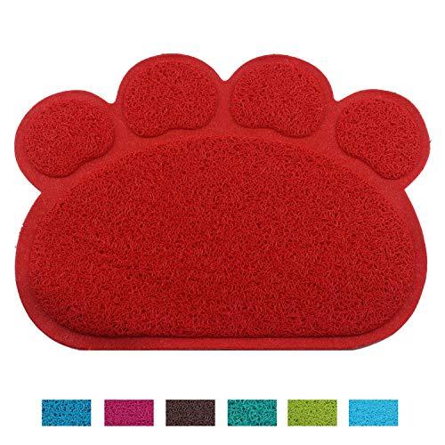 Pet Dog Cat Puppy Kitten Dish Bowl Food Water Feeding Placemat, Jomia PVC Non-slip Cat Litter Mat Paw Shape (Red)