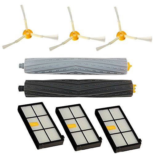 Lilys Gift Replacement Parts for iRobot Roomba 980 880 870 800 Robotic Vacuum Cleaner 3 Hepa Filters, 3 Side Brushes, 2 sets Tangle-Free Debris Extractors
